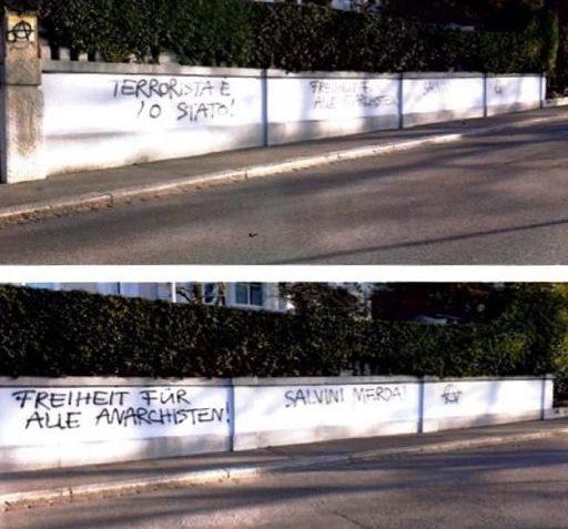 Foto delle minacce a Salvini